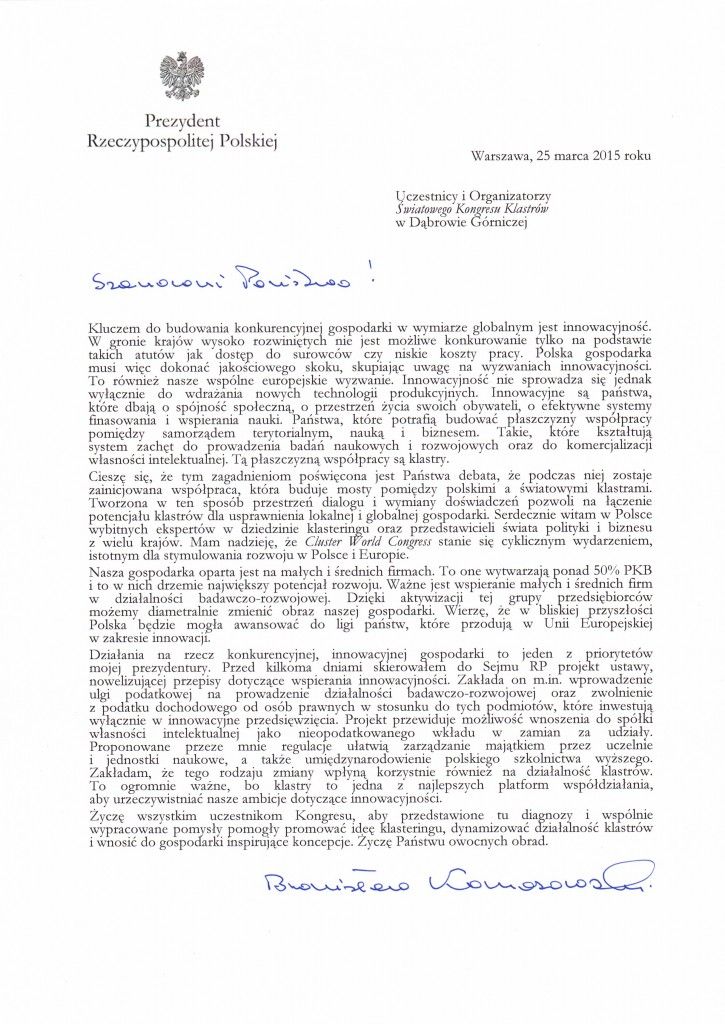 Bronisław Komorowski Cluster World Congress